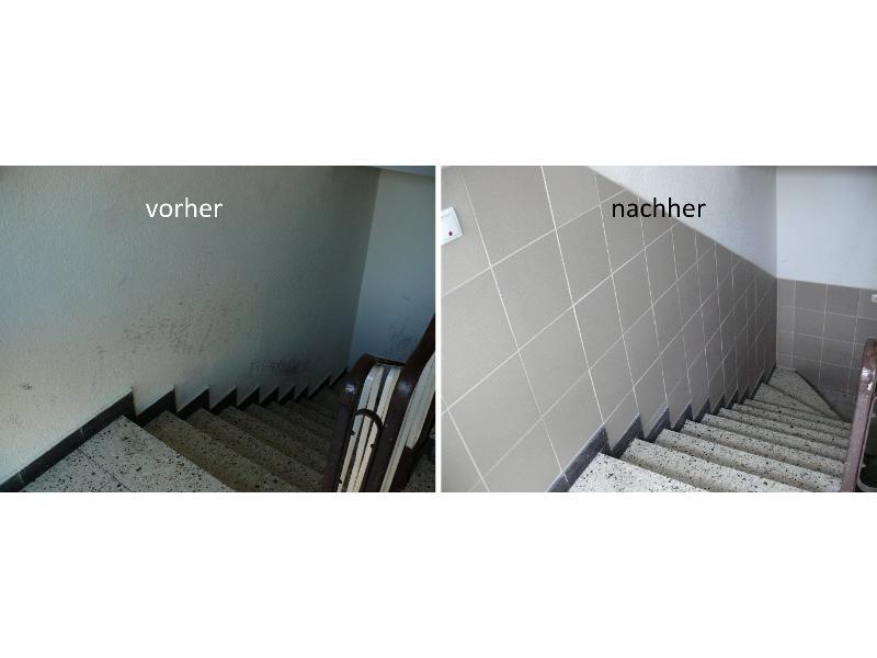 Anbringung eines Fliesenspiegels bei Kellerabgang in Nürnberg
